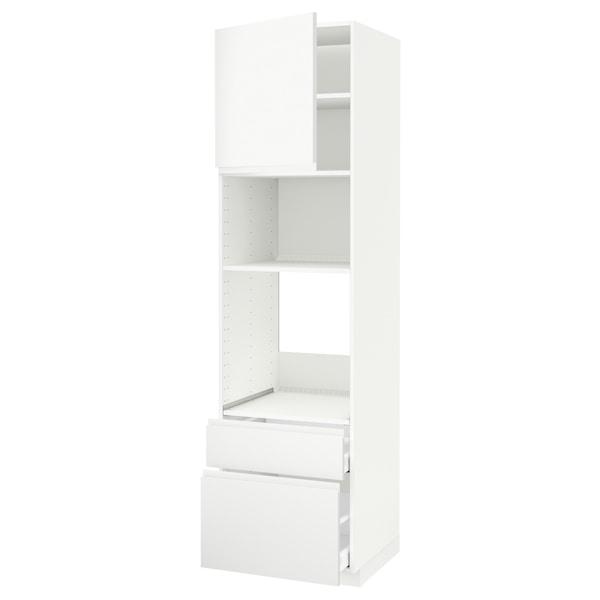 METOD / MAXIMERA high cab f oven/micro w dr/2 drwrs white/Voxtorp matt white 60.0 cm 62.1 cm 228.0 cm 60.0 cm 220.0 cm