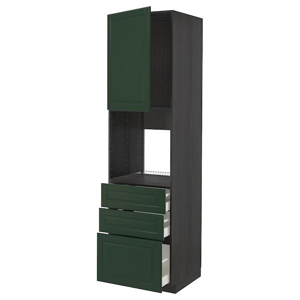 METOD / MAXIMERA High cab f oven w door/3 drawers, black/Bodbyn dark green, 60x60x220 cm