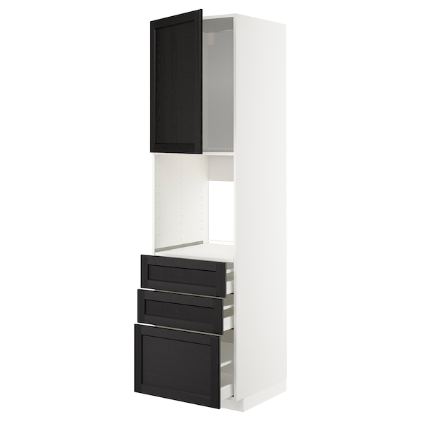 METOD / MAXIMERA High cab f oven w door/3 drawers, white/Lerhyttan black stained, 60x60x220 cm