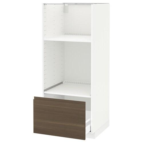 METOD / MAXIMERA high cab for oven/micro w drawer white/Voxtorp walnut 60.0 cm 62.1 cm 148.0 cm 60.0 cm 140.0 cm