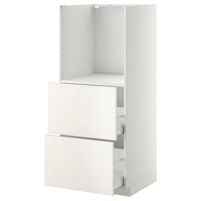 METOD / MAXIMERA خزانة للفرن بدرجين, أبيض/Veddinge أبيض, 60x60x140 سم