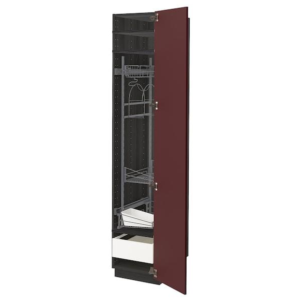 METOD / MAXIMERA high cabinet with cleaning interior black Kallarp/high-gloss dark red-brown 40.0 cm 61.6 cm 208.0 cm 60.0 cm 200.0 cm