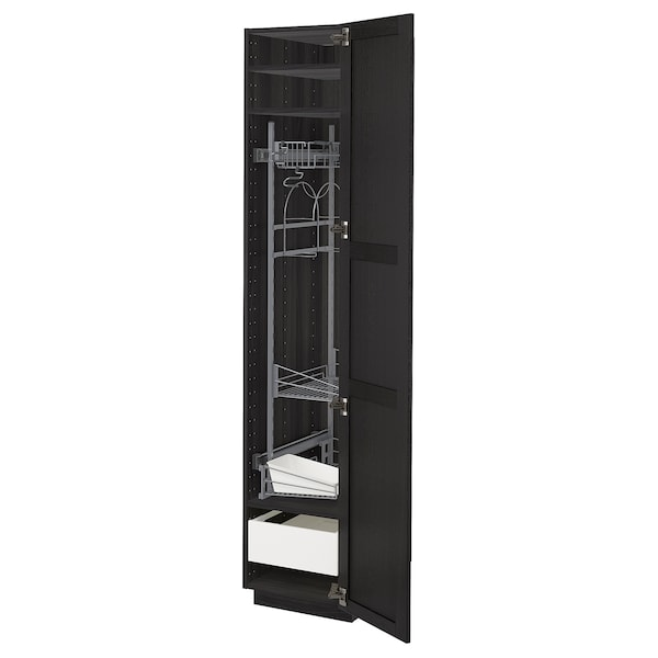 METOD / MAXIMERA High cabinet with cleaning interior, black/Lerhyttan black stained, 40x60x200 cm