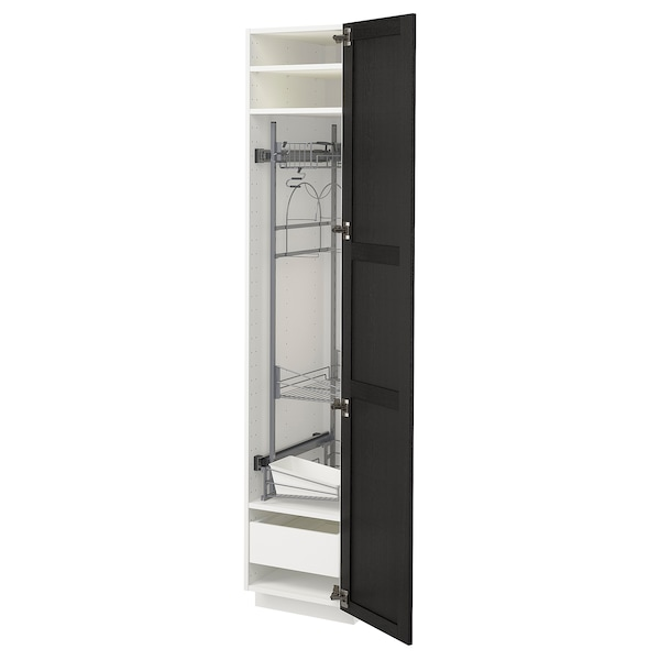 METOD / MAXIMERA high cabinet with cleaning interior white/Lerhyttan black stained 40.0 cm 61.6 cm 208.0 cm 60.0 cm 200.0 cm
