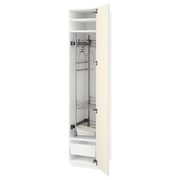 METOD / MAXIMERA high cabinet with cleaning interior white/Hittarp off-white 40.0 cm 61.8 cm 208.0 cm 60.0 cm 200.0 cm