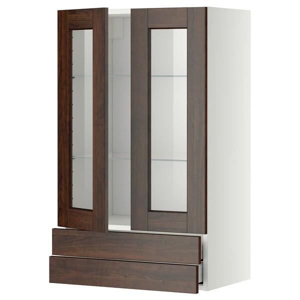 METOD / MAXIMERA خزانة حائط بابين زجاجية/2 أدراج, أبيض/Edserum بني, 60x100 سم