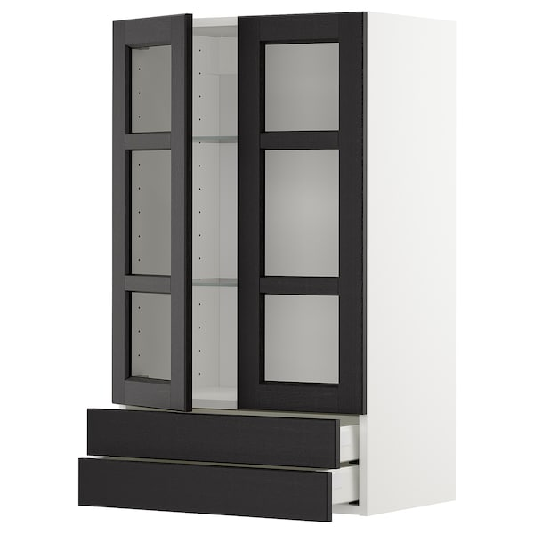 METOD / MAXIMERA wall cab w 2 glass doors/2 drawers white/Lerhyttan black stained 60.0 cm 38.9 cm 100.0 cm