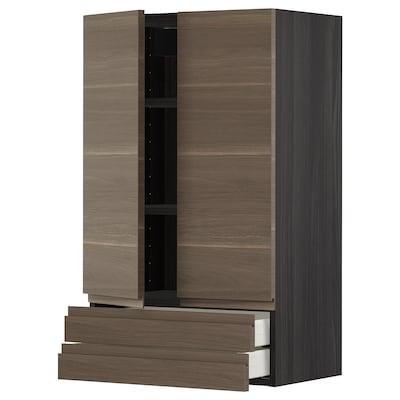METOD / MAXIMERA خزانة قاعدة بابين/2 أدراج, أسود/Voxtorp شكل خشب الجوز, 60x100 سم