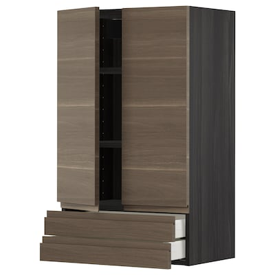 METOD / MAXIMERA Wall cabinet w 2 doors/2 drawers, black/Voxtorp walnut effect, 60x100 cm