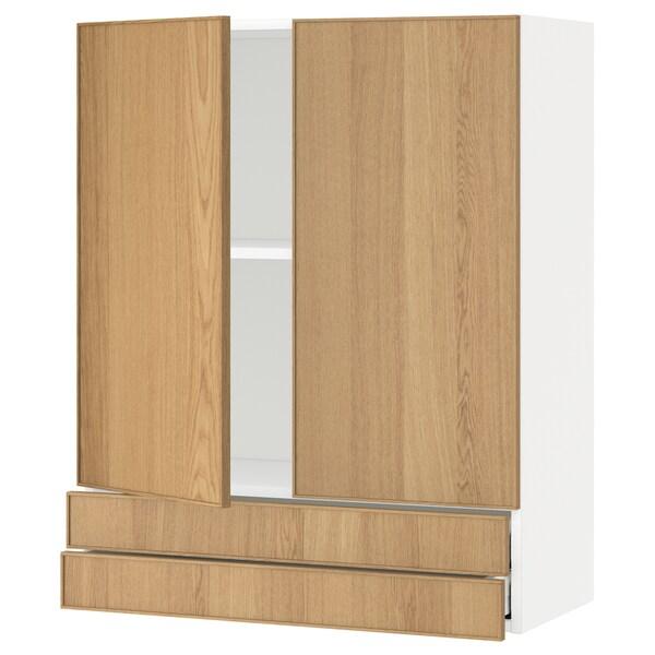 METOD / MAXIMERA خزانة قاعدة بابين/2 أدراج, أبيض/Ekestad سنديان, 80x100 سم