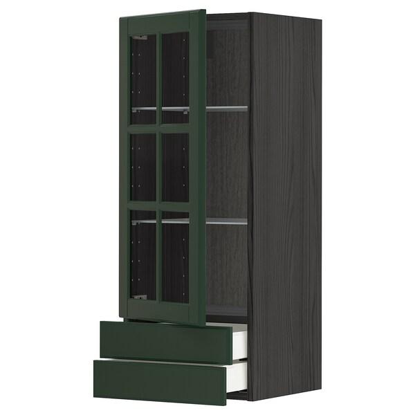METOD / MAXIMERA Wall cabinet w glass door/2 drawers, black/Bodbyn dark green, 40x100 cm