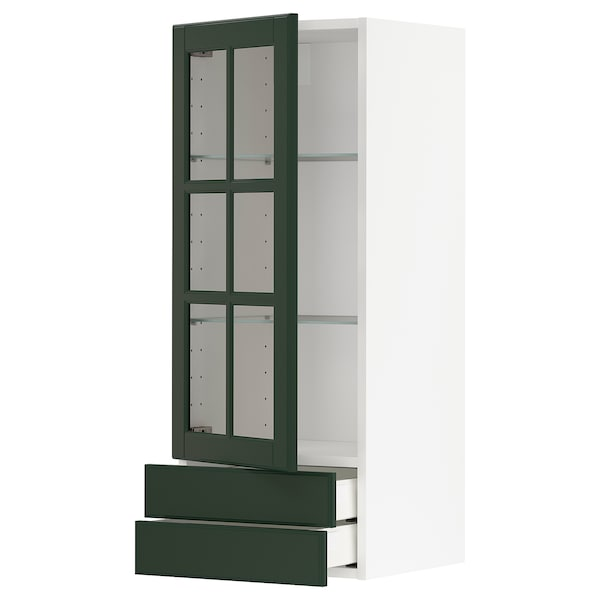 METOD / MAXIMERA Wall cabinet w glass door/2 drawers, white/Bodbyn dark green, 40x100 cm