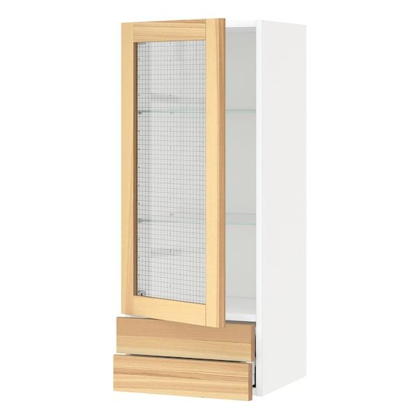 METOD / MAXIMERA Wall cabinet w glass door/2 drawers, white/Torhamn ash, 40x100 cm