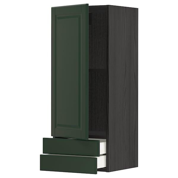 METOD / MAXIMERA Wall cabinet with door/2 drawers, black/Bodbyn dark green, 40x100 cm
