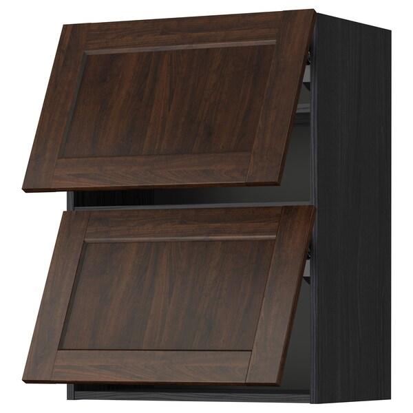 METOD Wall cab horizo 2 doors w push-open, black/Edserum brown, 60x80 cm