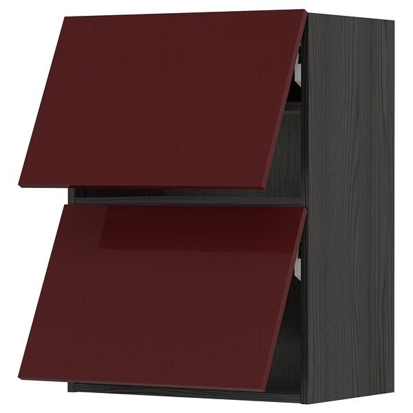 METOD Wall cab horizo 2 doors w push-open, black Kallarp/high-gloss dark red-brown, 60x80 cm