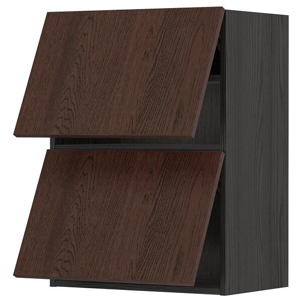 METOD Wall cab horizo 2 doors w push-open, black/Sinarp brown, 60x80 cm