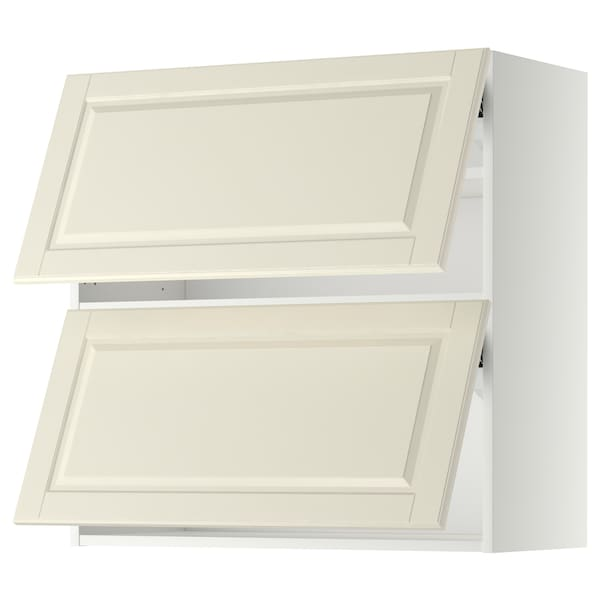 METOD Wall cab horizo 2 doors w push-open, white/Bodbyn off-white, 80x80 cm