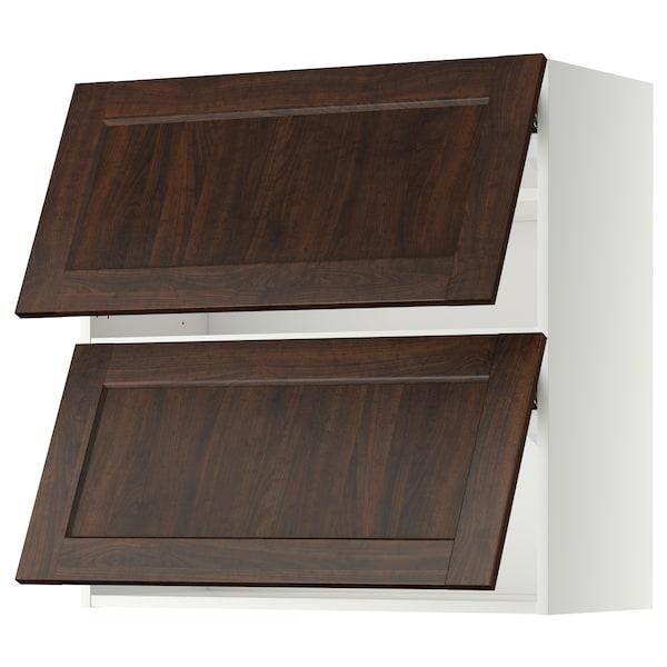 METOD Wall cab horizo 2 doors w push-open, white/Edserum brown, 80x80 cm