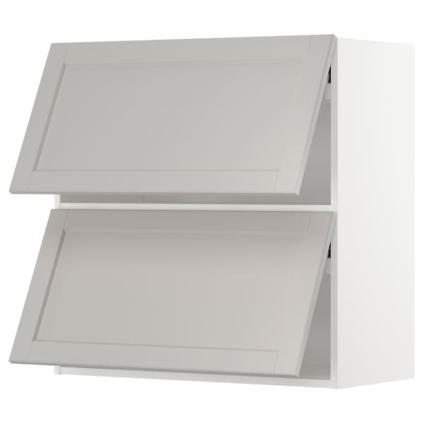 METOD Wall cab horizo 2 doors w push-open, white/Lerhyttan light grey, 80x80 cm