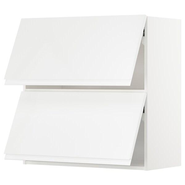 METOD Wall cab horizo 2 doors w push-open, white/Voxtorp high-gloss/white, 80x80 cm