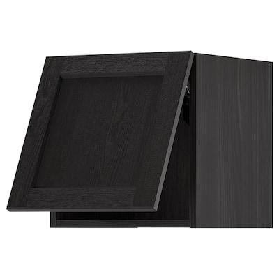 METOD خزانة حائط افقية, أسود/Lerhyttan صباغ أسود, 40x40 سم