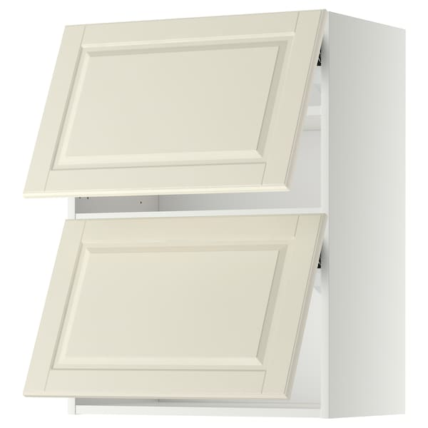 METOD Wall cabinet horizontal w 2 doors, white/Bodbyn off-white, 60x80 cm
