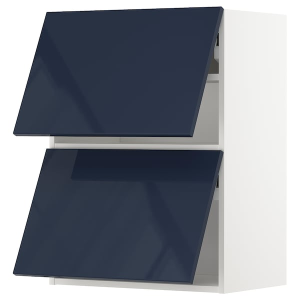 METOD Wall cabinet horizontal w 2 doors, white/Järsta black-blue, 60x80 cm