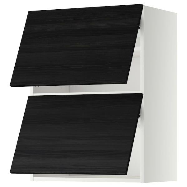 METOD Wall cabinet horizontal w 2 doors, white/Tingsryd black, 60x80 cm