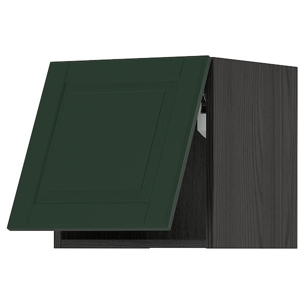 METOD Wall cabinet horizontal w push-open, black/Bodbyn dark green, 40x40 cm
