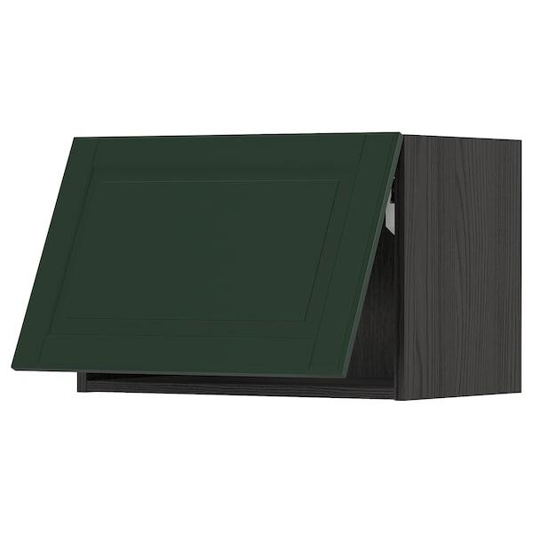 METOD Wall cabinet horizontal w push-open, black/Bodbyn dark green, 60x40 cm