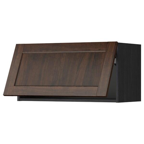 METOD Wall cabinet horizontal w push-open, black/Edserum brown, 80x40 cm