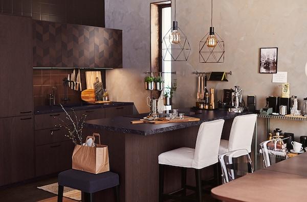 METOD Wall cabinet horizontal w push-open, black Hasslarp/brown patterned, 40x40 cm