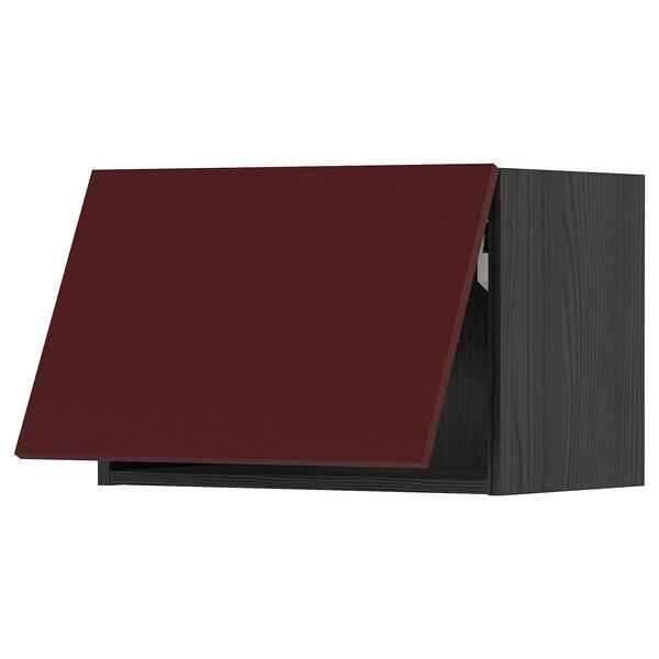 METOD Wall cabinet horizontal w push-open, black Kallarp/high-gloss dark red-brown, 60x40 cm