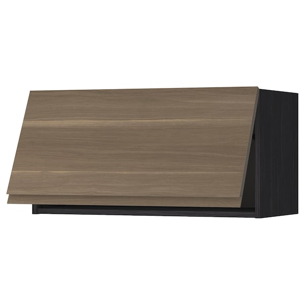 METOD Wall cabinet horizontal w push-open, black/Voxtorp walnut effect, 80x40 cm