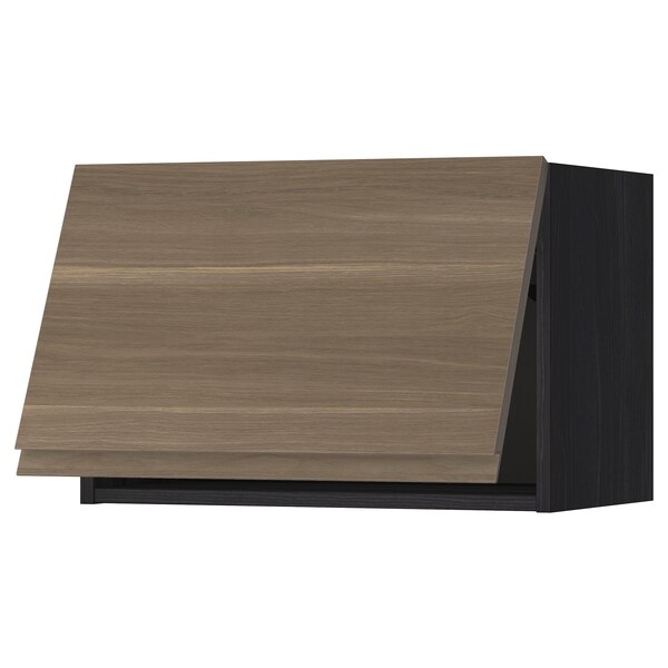 METOD Wall cabinet horizontal w push-open, black/Voxtorp walnut effect, 60x40 cm