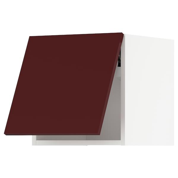 METOD Wall cabinet horizontal w push-open, white Kallarp/high-gloss dark red-brown, 40x40 cm