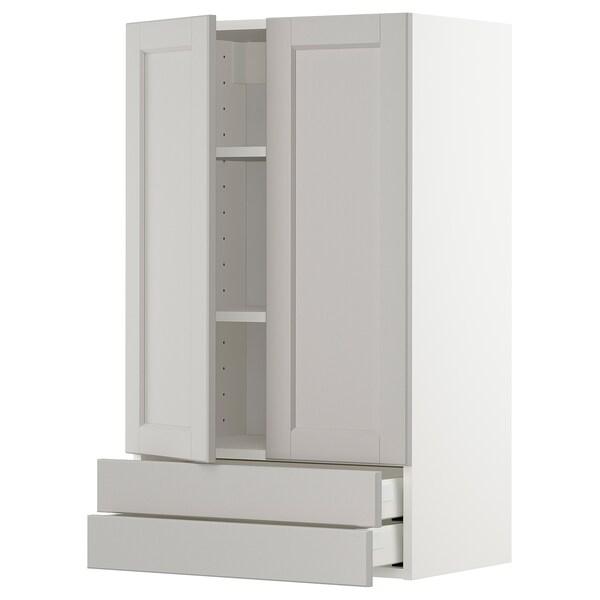 METOD wall cabinet w 2 doors/2 drawers white/Lerhyttan light grey 60.0 cm 38.6 cm 100.0 cm