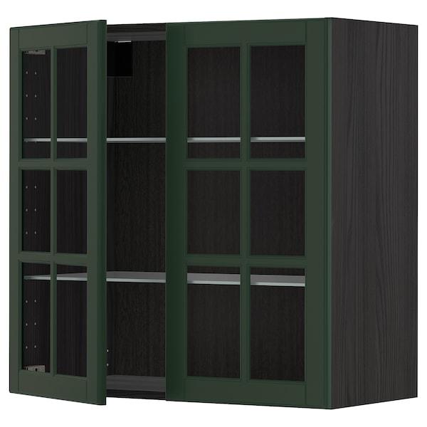METOD خزانة حائط مع أرفف/بابين زجاجية, أسود/Bodbyn أخضر غامق, 80x80 سم