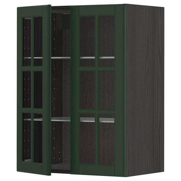 METOD خزانة حائط مع أرفف/بابين زجاجية, أسود/Bodbyn أخضر غامق, 60x80 سم
