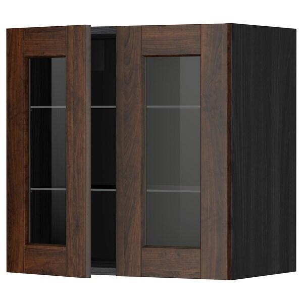 METOD Wall cabinet w shelves/2 glass drs, black/Edserum brown, 60x60 cm