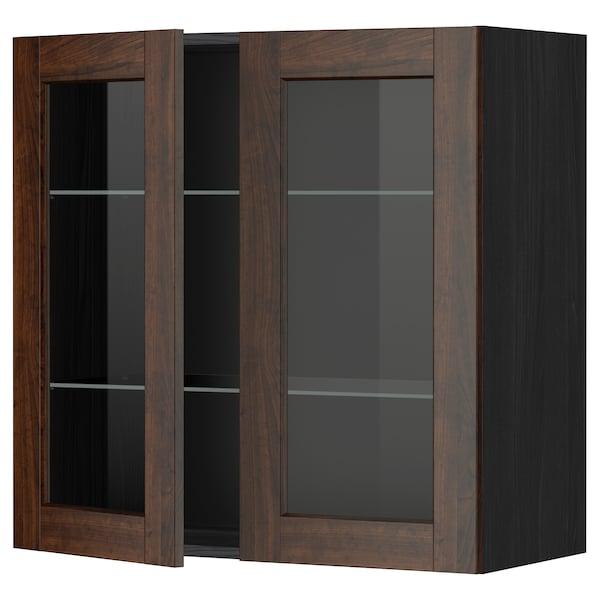 METOD Wall cabinet w shelves/2 glass drs, black/Edserum brown, 80x80 cm