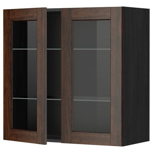 METOD خزانة حائط مع أرفف/بابين زجاجية, أسود/Edserum بني, 80x80 سم