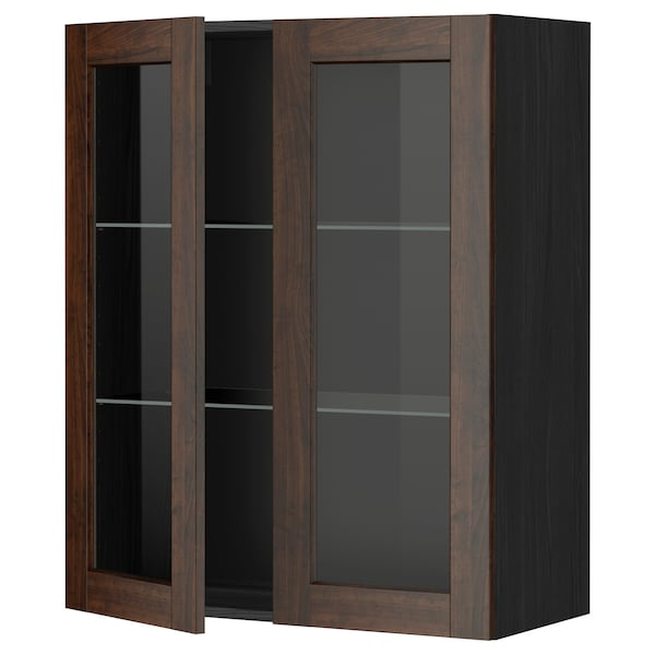 METOD Wall cabinet w shelves/2 glass drs, black/Edserum brown, 80x100 cm