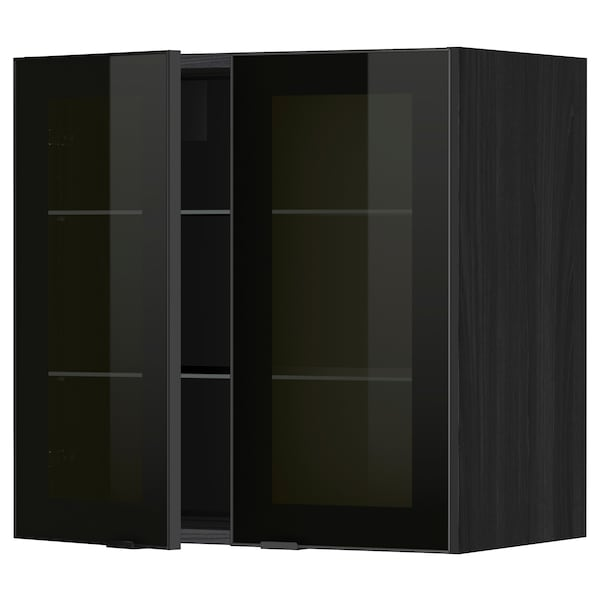 METOD Wall cabinet w shelves/2 glass drs, black/Jutis smoked glass, 60x60 cm