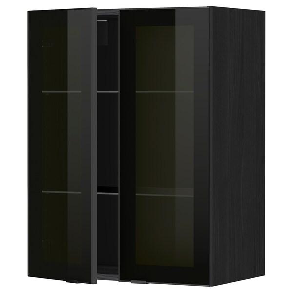 METOD خزانة حائط مع أرفف/بابين زجاجية, أسود/Jutis زجاج مدخّن, 60x80 سم