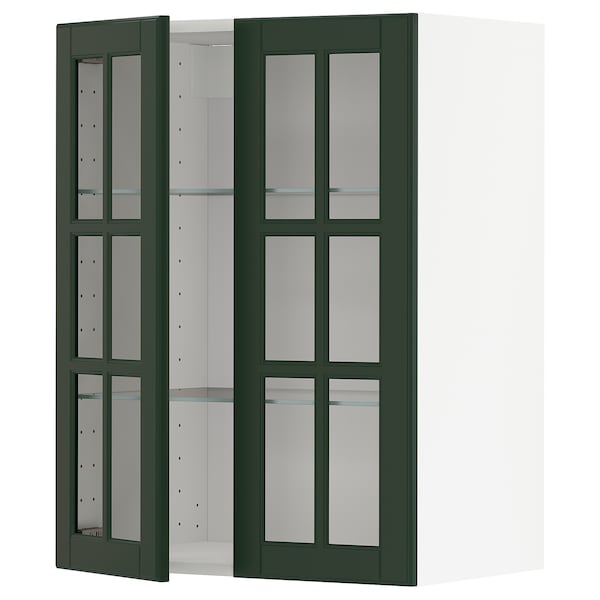 METOD خزانة حائط مع أرفف/بابين زجاجية, أبيض/Bodbyn أخضر غامق, 60x80 سم