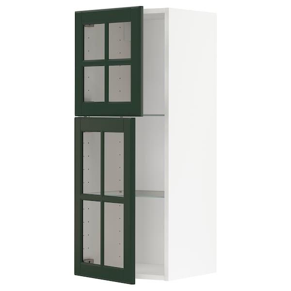 METOD Wall cabinet w shelves/2 glass drs, white/Bodbyn dark green, 40x100 cm