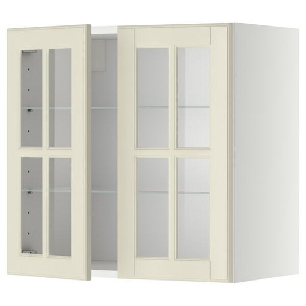 METOD خزانة حائط مع أرفف/بابين زجاجية, أبيض/Bodbyn أبيض-عاجي, 60x60 سم