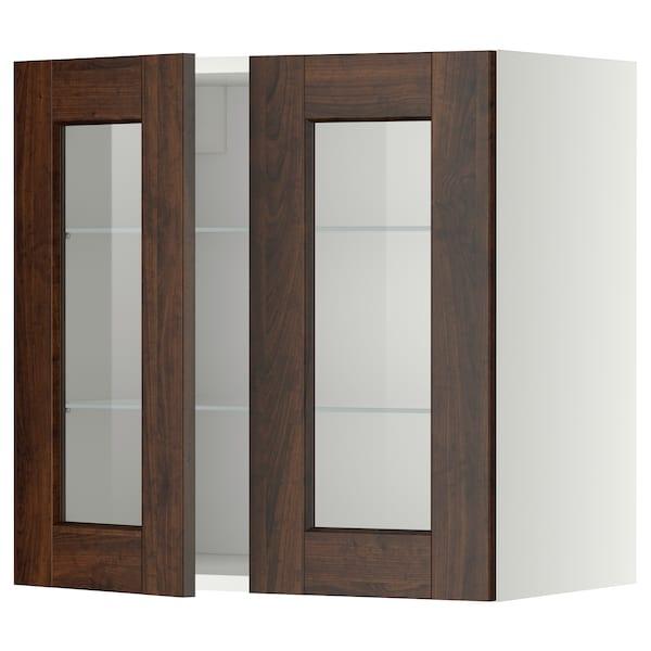 METOD Wall cabinet w shelves/2 glass drs, white/Edserum brown, 60x60 cm